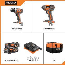 RIDGID 18v Cordless Drill Driver and Impact Driver 2-Tool Combo R96021 Open Box
