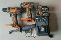 RIDGID 18v Cordless Drill Driver and Impact Driver 2-Tool Combo R96021 Used