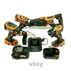 RIDGID 4-Tool Combo Kit 18V Brushless Drill, Light Reciprocating Saw R9226SBN