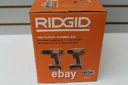 RIDGID R9272 18V Cordless 2-Tool Combo Kit with 1/2 Drill/Driver, 1/40 Impact