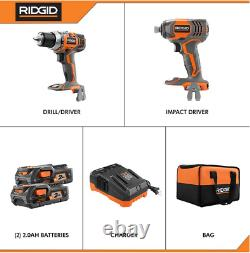 RIDGID R96021 18-Volt Cordless Drill/Driver and Impact Driver 2-Tool Combo Kit