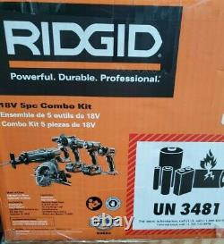 RIDGID R9652 18V 5 Piece Tool Kit With 2 Battery's, 1 Charger