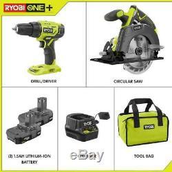 RYOBI 18V Cordless Drill Driver Circular Saw 2Batteries Bag Power Tool Combo Set
