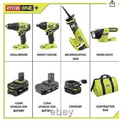 RYOBI 18-Volt ONE+ Lithium-Ion Cordless 4 Tool Combo Kit P1818 New With Batteries