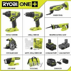 RYOBI Combo Tool Kit 18-Volt Cordless Battery Charger Bag Drill Kit (6-Tool)