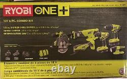 RYOBI Cordless 6-Tool Combo Kit 18-V ONE+ Lith-Ion 2 Batteries Charger Bag P1819