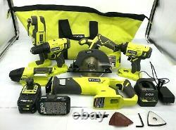 RYOBI P1819 18V One+ Cordless 6 Tool Combo Kit Set, G