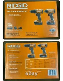 Ridgid (R9272) 18V Cordless 2-Tool Drill & Impact Driver Kit NEW SEALED