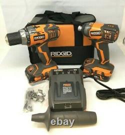 Ridgid R96021SB Drill Impact Driver 2 Power Tool Combo Cordless Kit, KL072