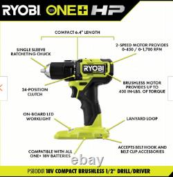 Ryobi HP 18V BRUSHLESS CORDLESS COMPACT 1/2 DRILL TOOL ONLY NEW