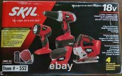 SKIL NiCad 18V Cordless Drill, Sander, Light & Jigsaw 4-Tool Combo Kit 2887-23