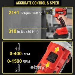 VEVOR 20V Drill Driver Reciprocating Saw Circular Saw 4-Tool Combo Kit 2 Battery