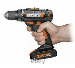 Worx WX170 Cordless Drill Driver Set With Two Batteries Battery Charger Tool Bag