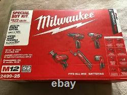 2499-25 Milwaukee M12 12v Cordless Kit Perle Impact Multi Outil 9 Articles 522 $