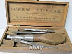 Antique Clark R. H. Brown Screw Driver Ensemble Avec Boîte En Bois Rare