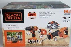 Black+decker 20v Max Cordless Drill 4-tool Combo Kit (bd4kitcdcrl) Nouveau Scellé