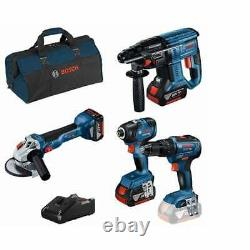 Bosch 18v Cordless 4 Piece Tool Set 3 Batteries Charger + Sac 0.615.990. M2b (m2b)