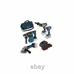 Bosch 18v Sans Fil 4 Pièces Ensemble D'outils 3 Batteries Chargeur + Sac 0.615.990. L0n
