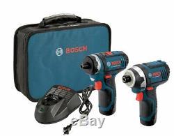 Bosch Clpk27-120 12v Max 2-tool Kit Combo W. 2 Batteries, Chargeur Et Cas, Rapide