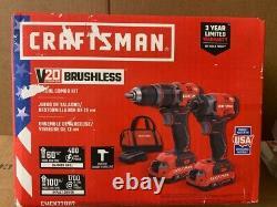 Craftsman 20-volt Max 2-tool Brushless Power Tool Combo Kit, Soft Case 2-batterie