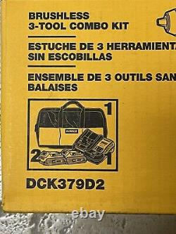 Dewalt 20v Max Sans Fil Sans Fil 3 Outils Combo Kit Dck379d2