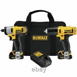 Dewalt 2 Outils Combo 12 Volt Kit- Perceuse Et Pilote D'impact Avec Boîtier, 2 Piles, Chargeur