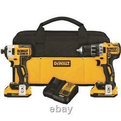 Dewalt Brushless Drill & Impact Driver Set 20v Li-ion Tool Kit Dck283d2 Nouveau