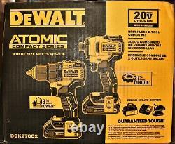 Dewalt Dck278c2 2-outil Atomic 20v Max Sans Fil De Perceuse Et D'impact Combo Kit