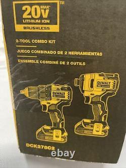 Dewalt Dck278c2 Atomic 2-tool Combo Kit 20v Max Brushless Cordless Brand Nouveau