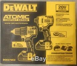 Dewalt Dck278c2 Atomique 20v Max 2-tool Brushless Combo Kit Tout Neuf