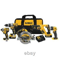 Dewalt Dck594p2 20v 5-tool Drill/impact Driver/saws And Light Combo Kit