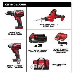 Ensemble Sans Fil Power Tool Kit 3-outil Gratuit 2 Batteries Chargeur Sac M18 Bundle Nouveau