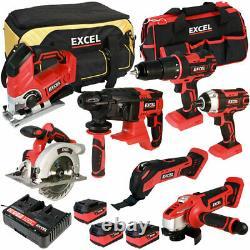 Excel Exl5046 18v 7 Pièces Power Tool Kit Avec Chargeur Et Sac De Batteries 3 X 5.0ah