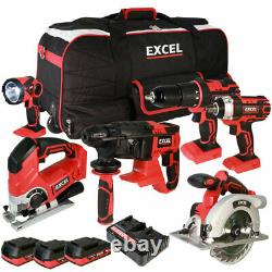 Excel Exl5069 18v 6 Piece Tool Kit 3 X 2.0ah Batteries Avec Twin Port Charger