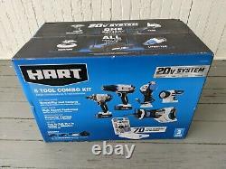 Hart 20-volt 5-tool Kit Avec 70-piece Accessory Set + 2 Lithium-ion Batterie Nouveau
