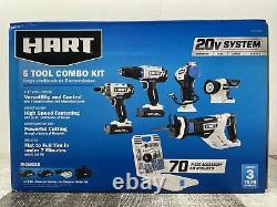 Hart 20-volt 5-tool Kit Avec Ensemble D'accessoires De 70 Pièces + 2 Batterie Lithium-ion Nouveau