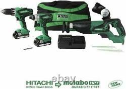 Hitachi 18-volt 4-tool Power Combo Kit Withsoft Case 2-batteries +charger Inclus