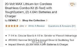 Kit Combo Sans Brosse Max De 20 Volts (6-tool) Avec Toughsystem Rolling Box Dckts600m2