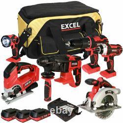 Kit D'outils De 6 Pièces Sans Fil Excel 18v 3 X 2.0ah Batteries Et Chargeur Intelligent Exl5656