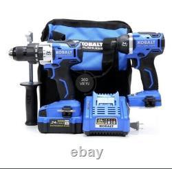 Kobalt 24v Max Brushless 2-tool Hammer Drill Combo Kit Withcharger & 4.0 Batterie
