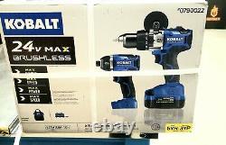Kobalt 2-tool 24-volt Max Brushless Hammer Drill Combo Chargeur Et Batterie Incl
