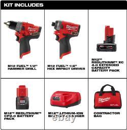 M12 Fuel 12-volt Brushless Cordless Hammer Drill Impact Driver 2 Tool Combo Kit