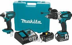 Makita Xt263m 18 Volts 4.0ah 2-outil D'impact Pilote Et Pilote Drill Combo Kit Nouveau