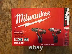 Milwaukee 2492-22 M12 12v Sans Fil 2 Outils Combo Kit Impact Driver & Dril Driver