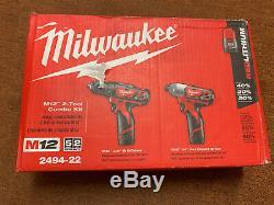 Milwaukee 2494-22 M12 Combo Kit De 2 Outils 3/8 Perceuse / Tournevis Et 1/4 Hex Impact