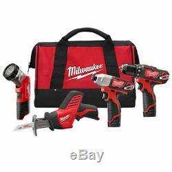 Milwaukee 2498-24 M12 Sans Fil Lithium-ion 4-tool Kit Combo