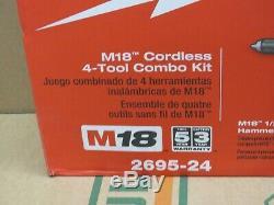 Milwaukee 2695-24 M18 18-volt Sans Fil Lithium-ion 4-tool Kit Combo