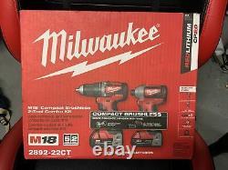 Milwaukee 2892-22ct M18 Conducteur De Forage À 2 Outils 18v Et Kit Combo Conducteur D'impact