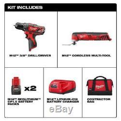 Milwaukee M12 12v Sans Fil Perceuse / Tournevis, Multi-outils. (2) Batterie, Chargeur, Sac Nouveau