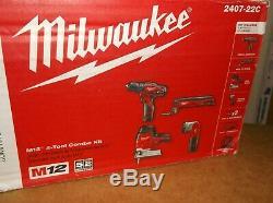 Milwaukee M12 2407-22c 4 Outil 12v Sans Fil Perceuse / Tournevis Combo Tool Kit